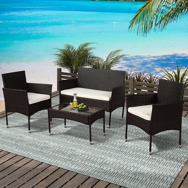 Boomer 4 Piece Rattan Sofa Seating Group with Cushions