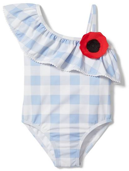 Girl Blue Rose Gingham Gingham Swimsuit By Janie and Jack