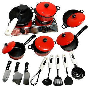 ☆5% OFF☆Kids Play Toy Kitchen Cooking Food Utensils Pans Pots Cookware Supplies Novelty