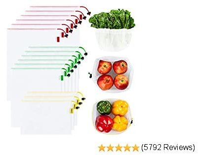 Ecowaare 15 Pack Reusable Produce Mesh Bags with Colorful Drawstring, 3 Sizes Eco-friendly and Washable Produce Bags for Grocery Shopping,Fruits,Vegetable, 3 Small 6 Medium & 6 Large,White