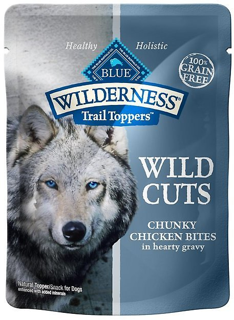 Blue Buffalo Wilderness Trail Toppers Wild Cuts Chunky Chicken Bites in Hearty Gravy Grain-Free Dog Food Topper, 3-oz, Case of 24 - Chewy.com