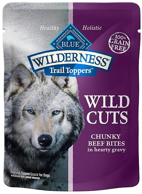Blue Buffalo Wilderness Trail Toppers Wild Cuts Chunky Beef Bites in Hearty Gravy Grain-Free Dog Food Topper, 3-oz, Case of 24 - Chewy.com