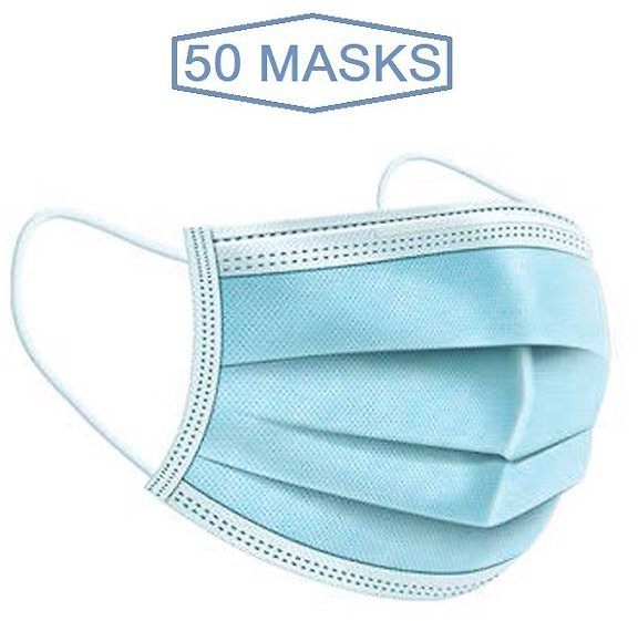 Disposable 3 Ply Ear Loop Face Masks Breathable, Pack 50