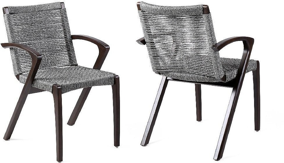 Brielle Outdoor Patio Gray Rope Arm Chair in Earth Finish - Set of 2 - Armen LCBLSIGR