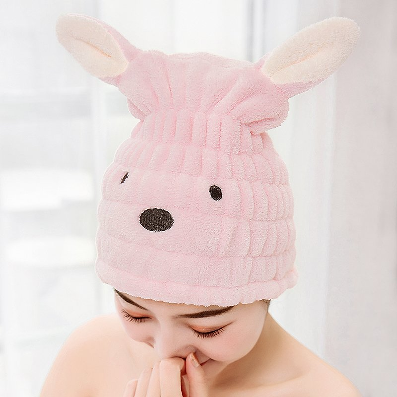 Cartoon Animals Rub Hair Dry Towel Hair Cap Quick-drying Hooded Towel Female Lovely Shower Cap Thicker Super Absorbent