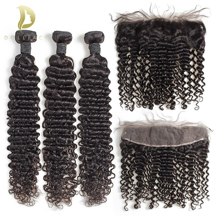 Curly Bundles with Frontal 3 4 Brazilian Human Hair Weave Bundles Remy Hair Extensions 28 30 Inch Colored Loose Water Wave