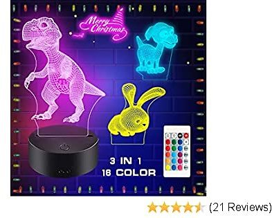 3D Night Light, ZSPENG Illusion Table Lamp, 3 Acrylic Flats & 16 Colors Change Decor Lamp with Remote Control for Kids, Christmas Birthday New Year Gifts for Kids (Dinosaur,Rabbit,Dog)