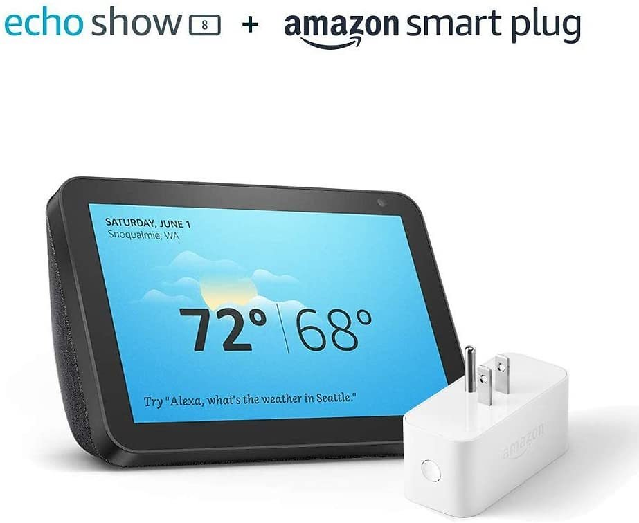 Echo Show 8 Charcoal with Amazon Smart Plug