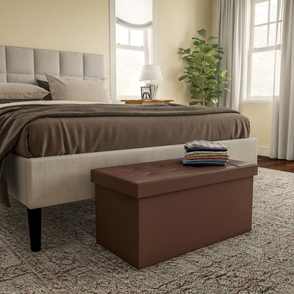 Folding Storage Bench Ottoman Foam Padded Lid-Removable Bin-Organizer for Home, Bedroom & Living Room