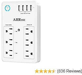 Smart Plug, USB Wall Charger, AHRISE WiFi Surge Protector with 4 USB Ports(4.8A/24W Total), 6-Outlet Extender(3 Smart Outlets),
