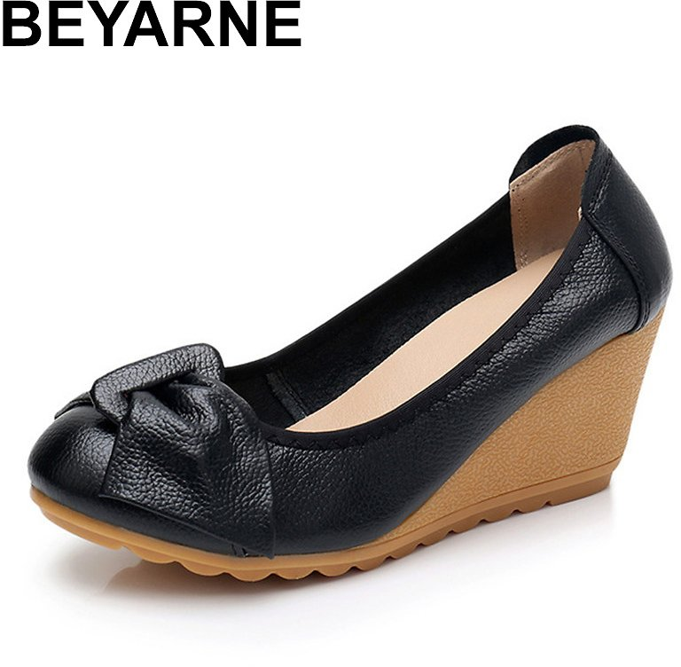 BEYARNE High Heels White Medium Pumps Yellow Beige Cheap Wedge 3 Inch Black Without Lace Size 4 34 Luxury Brand Women Shoes
