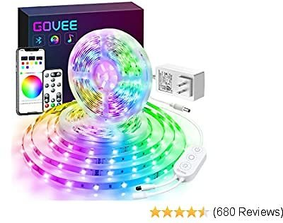 Govee Color Changing 32.8ft LED Strip Lights Bluetooth, App Control, Remote, Control Box LED Music Lights