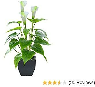 Artificial Flower Calla Lily Faux Potted Plant with Black Pot Fake Bonsai Flower for Home, Office, Indoor and Outdoor Occasions Decor (White Fake Flower)