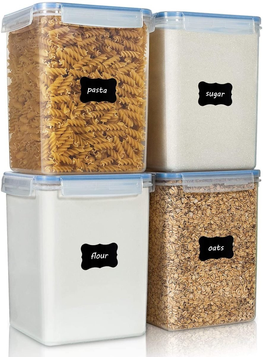 Large Food Storage Containers 5.2L / 176oz - 4 Pieces, BPA Free Plastic, Airtight with 4 Measuring Cups and 24 Labels