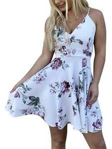 Boho Women's Summer Beach Slip Dress Holiday Strappy Lace Back Floral Sundress