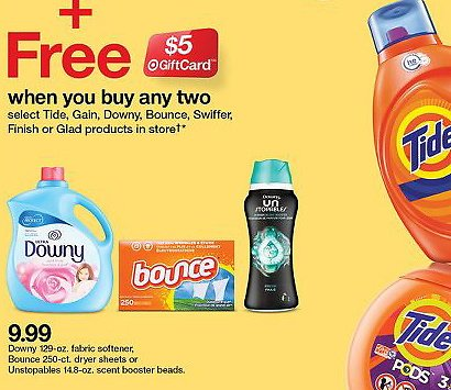 $5 Gift Card W/P 2 or More Tide, Gain, Downey & More (In-Store)