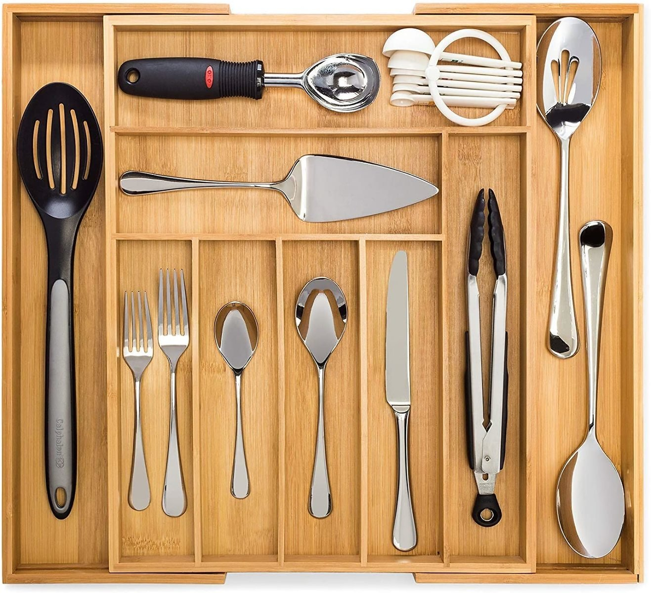 Bamboo Expandable Drawer Organizer, Premium Cutlery and Utensil Tray, 100% Pure Bamboo, Adjustable Kitchen Drawer Divider (7 Compartments Expandable)