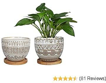 G EPGardening 5.5in Geometry Ceramic Planter Large Round Succulent Planter Flower Pot Indoor and Outdoor Brown Set of 2