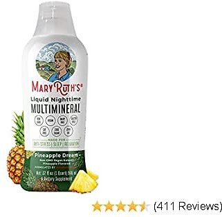 Liquid Sleep Multimineral W/Magnesium & Calcium Citrate By MaryRuth's - Pineapple - Vegan Vitamins, Antioxidants, Minerals, MSM - Natural Calm & Stress Aid - No Melatonin - Non-GMO - Sugar Free 32oz