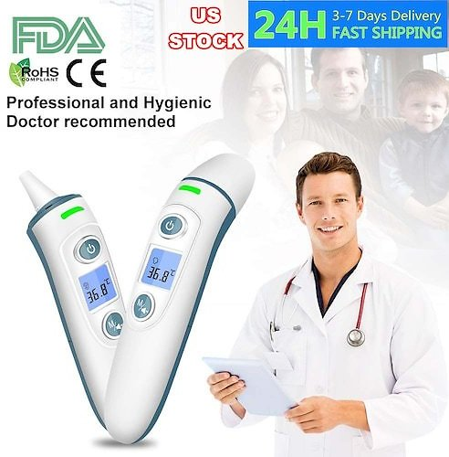 Ear Forehead Thermometer Medical Infrared LCD Digital Temporal Thermometer with Fever Alarm Memory