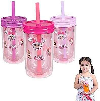 Franco Kids Pack of 3 Reusable Insulated Double Wall Tumbler Drinking Cups with Straws and Lids, 12-Ounce, LOL Surprise