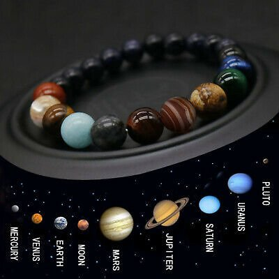 Eight Planet Bead Bracelet Men Women Natural Stone Universe Yoga Chakra Bangle