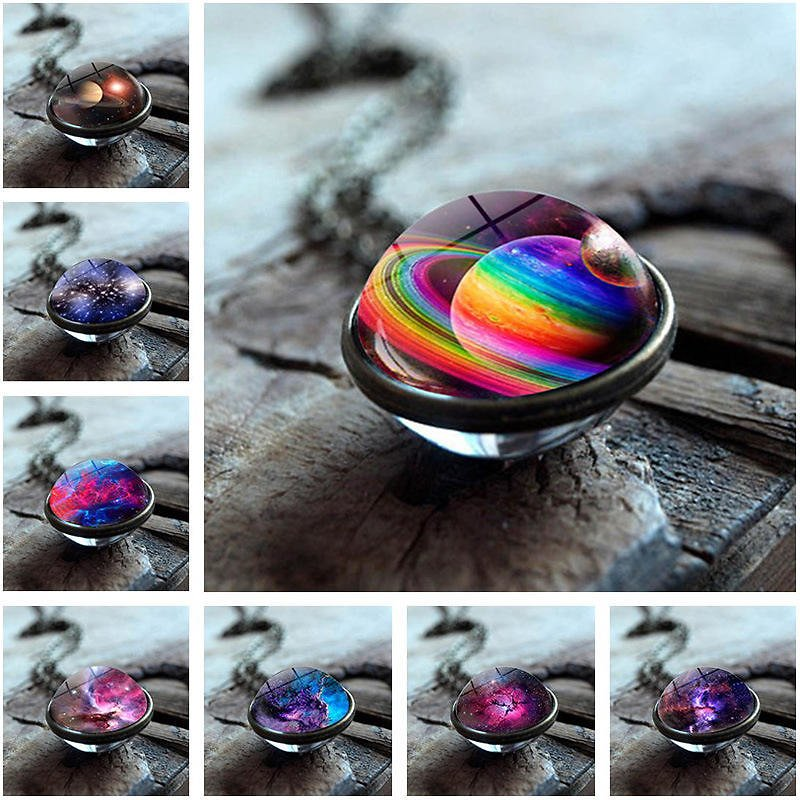Trendy Geometric Double-sided Glass Ball Necklace Solar System Universe Starry Pendant Necklace - #04