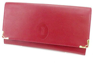 Cartier Clutch Bag Mastline Red Gold Woman Unisex Authentic Used T2000