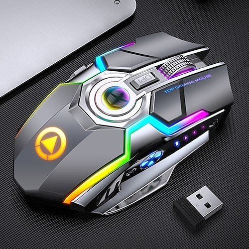 A5 Rechargeable Gaming Wireless Mouse Mute Silent RGB Light