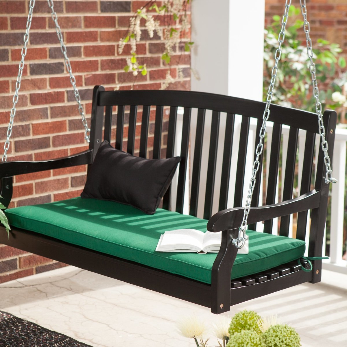 Coral Coast Pleasant Bay All-Weather Curved Back Acacia Wood Porch Swing - Painted Black