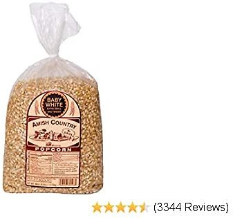 Amish Country Popcorn   6 Lb Bag   Baby White Popcorn Kernels   Small and Tender   Old Fashioned with Recipe Guide (Baby White,