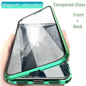 For IPhone 11 XR Xs Max 7 8 Plus 360° Magnetic Adsorption Full Glass Case Cover