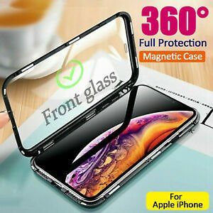 For IPhone XR Xs Max X 7 8 11 360° Magnetic Adsorption Double Glass Case Cover