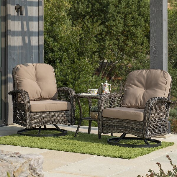 Pelletier 3 Piece Rattan Seating Group with Cushion