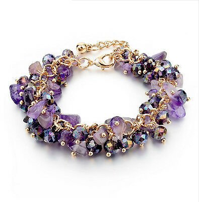 Women Purple Natural Stone Beads Crystal Charm Bracelets Gold Chain Bangle Gifts