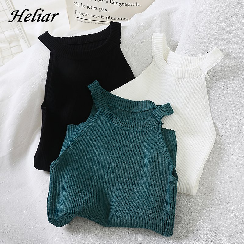 HELIAR Top Women Crop Tops Knitted Off Shoulder Sexy Tank Tops Female Solid O-Neck Stretchy Crop Top 2020 Summer Tops For Women