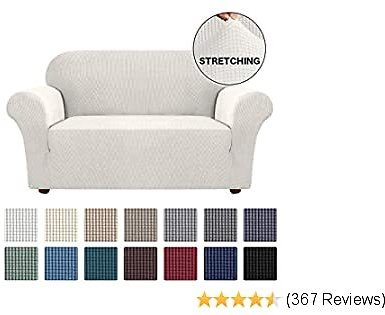 Stretch Furniture Sofa Cover for Loveseat 1 Piece Jacquard Spandex Sofa Slipcover Furniture Cover/Protector, Anti-Slip Foam, Machine Washable Couch Covers for 2 Cushion Couch (Loveseat, Ivory)