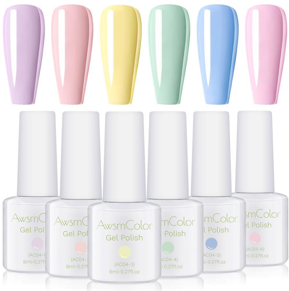 AwsmColor Gel Nail Polish Set, Pastel Color UV LED Soak Off Nail Gel Kit, Pastel Dusty Soothing Pale Color Christmas Nail Art
