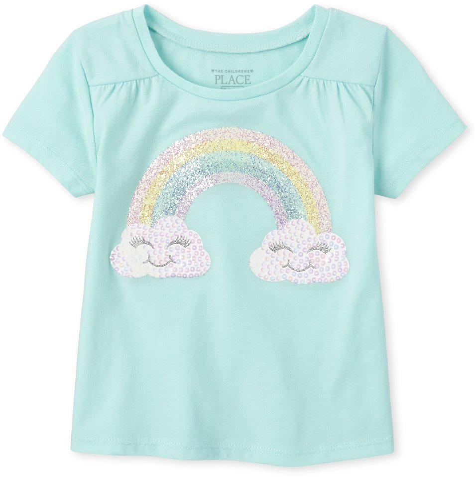 Baby And Toddler Girls Short Sleeve Glitter And Sequin Top