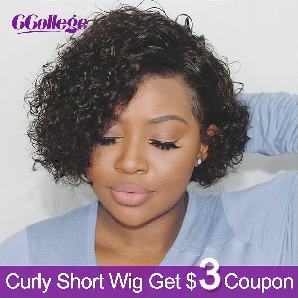 Curly Wave Short Wigs Remy Human Hair For Black Women Brazilian Hair Wig Pixie Cut Bob Non Lace Wigs Color #2 & #30