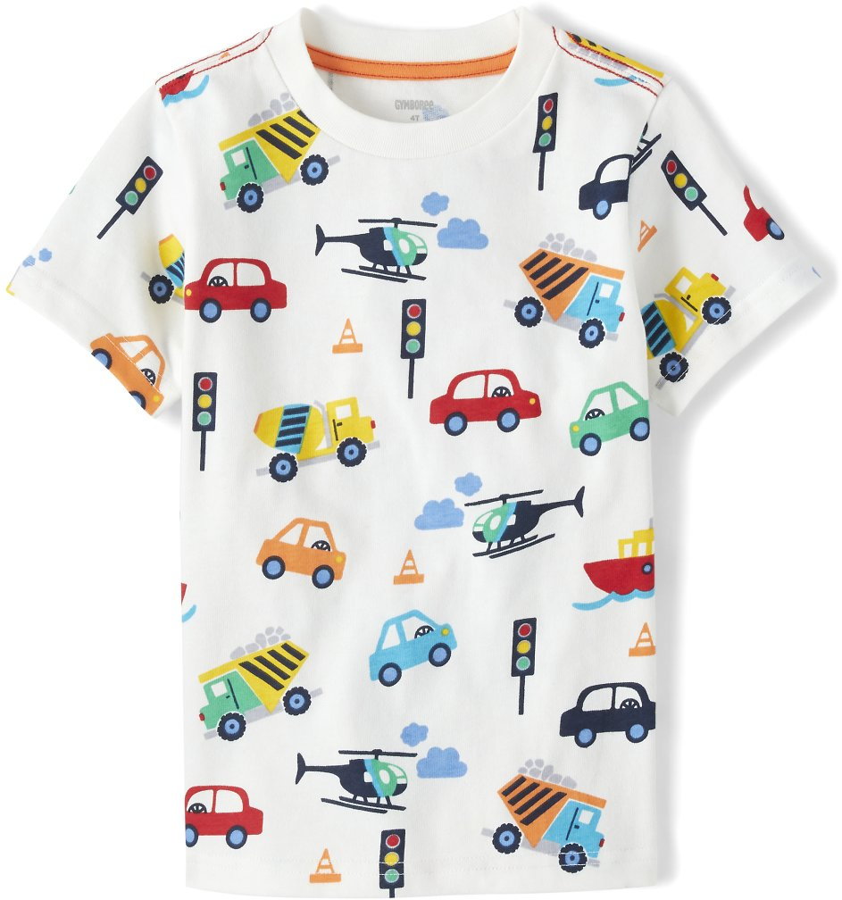 Boys Short Sleeve Transportation Print Top - Travel Adventure