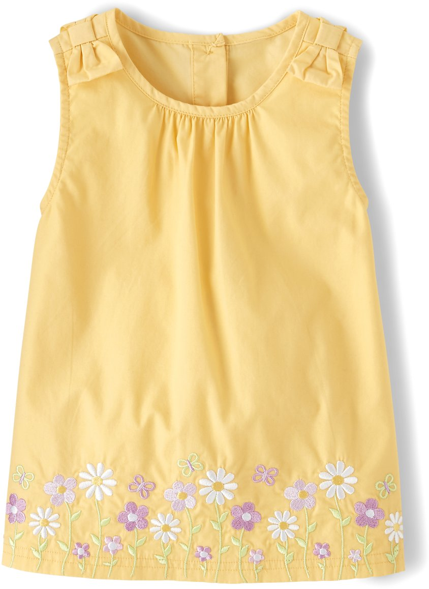 Girls Sleeveless Embroidered Flowers Poplin Top - Pocketful Of Posies