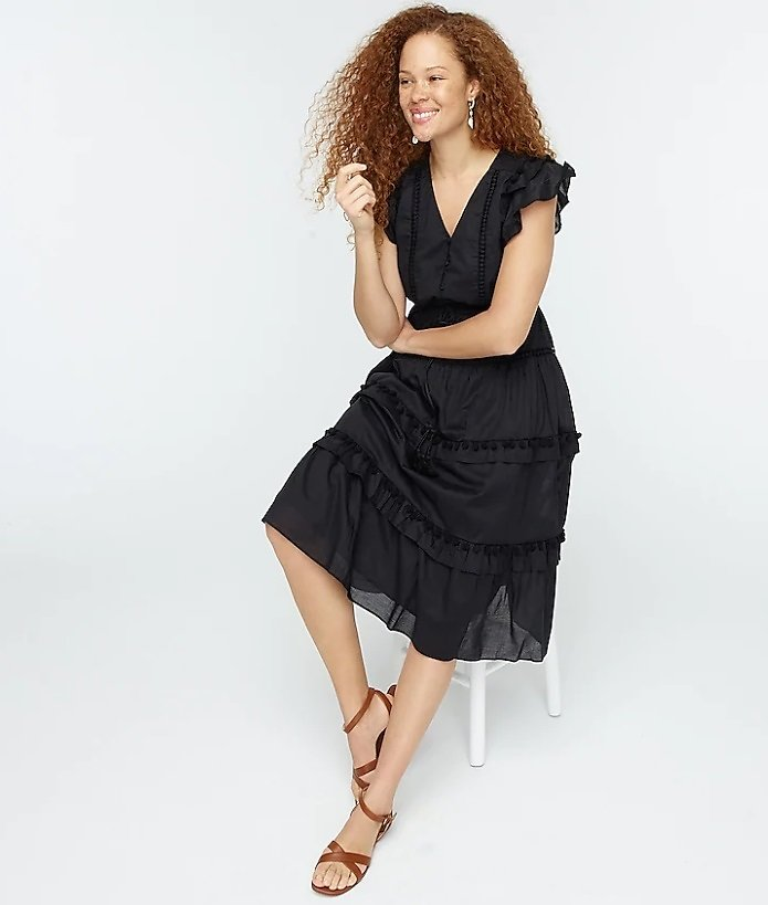 Pom-pom Dress in Cotton Voile (2 Colors)