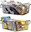 Gorgeous Stackable XXL Wire Baskets For Pantry Storage and Organization - Set of 2 Pantry Storage Bins With Handles - Large Metal Food Baskets Keep Your Pantry Organized: Kitchen & Dining