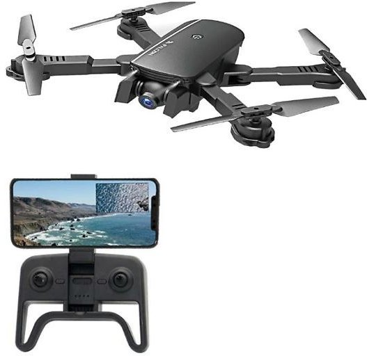 1808 WIFI FPV With 4K Wide Angle Camera Optical Flow Altitude Hold Mode Foldable RC Drone Quadcopter RTF - Black Three Batteries 4K