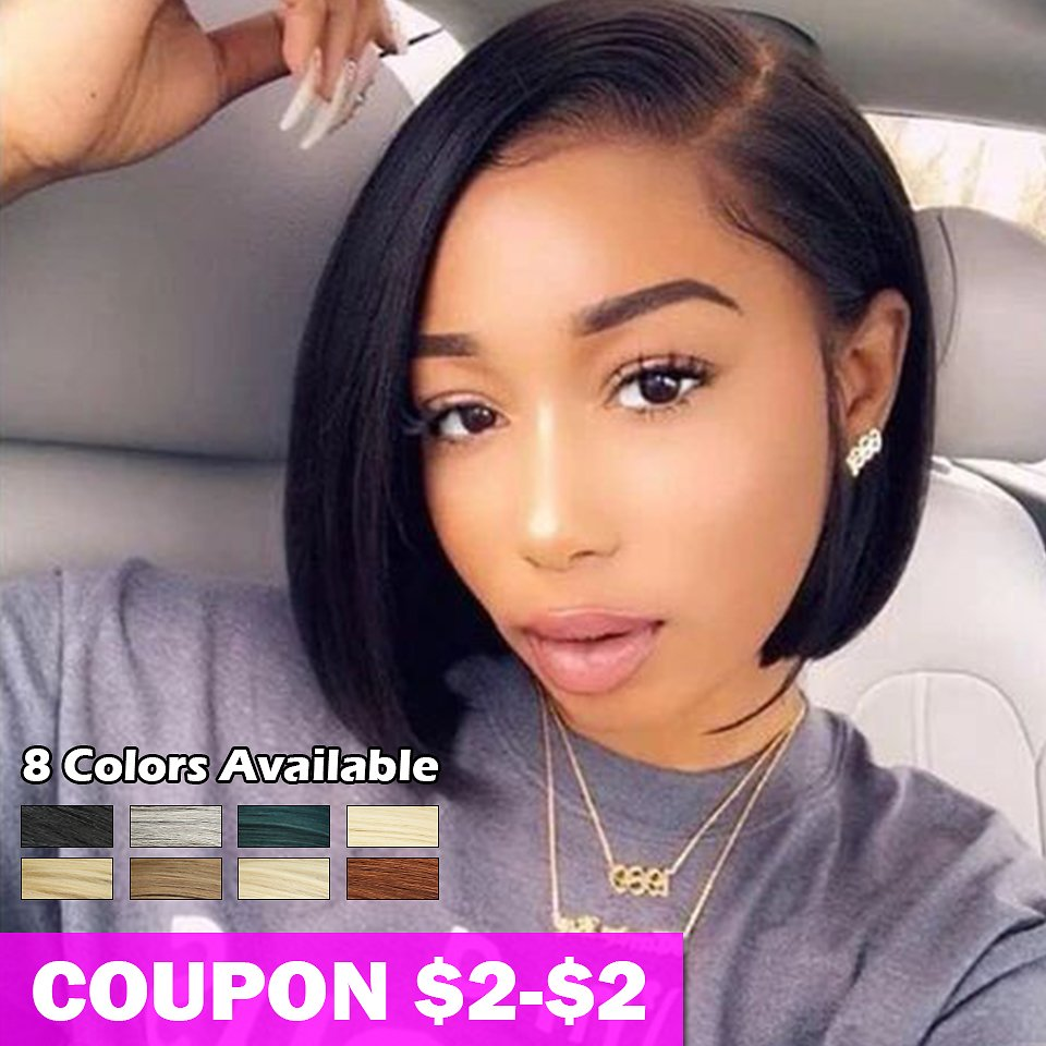 Short Blonde BOB Wig For Women 10 Inches Synthetic Lace Front Wig Black Ombre 613 Brown Straight Synthetic Hair Side Part