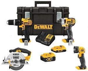 DEWALT 20-Volt MAX Lithium-Ion Cordless Combo Kit (4-Tool), 2Ah Battery, 4Ah Battery, Charger, with Tough System Case-DCKTS425D1M1