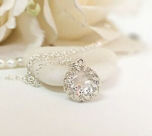 Wedding Necklace CZ Bridal Jewelry Sterling Silver 925 Pendant Charm Bridesmaid