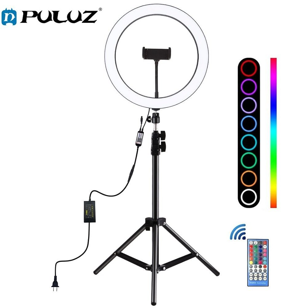 PULUZ 12 Inch Dimmable RGB LED Selfie Ring Lights & 1.1m Stannd Tripod &Remote for Photos &YouTube Videos Vlogging Video Light
