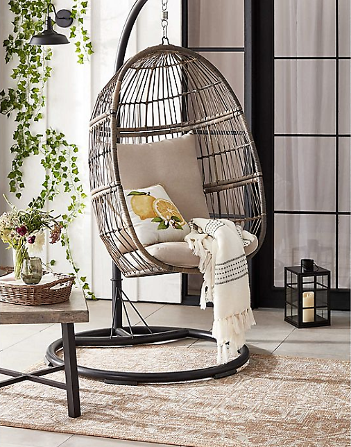Hanging Patio Egg Chair in Oyster + Free Shipping